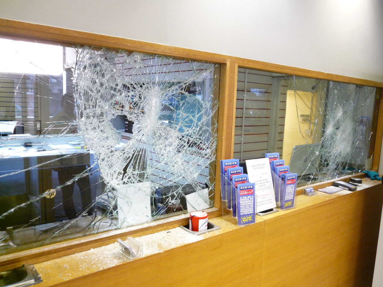 Bureau de Change London Attacked Glass